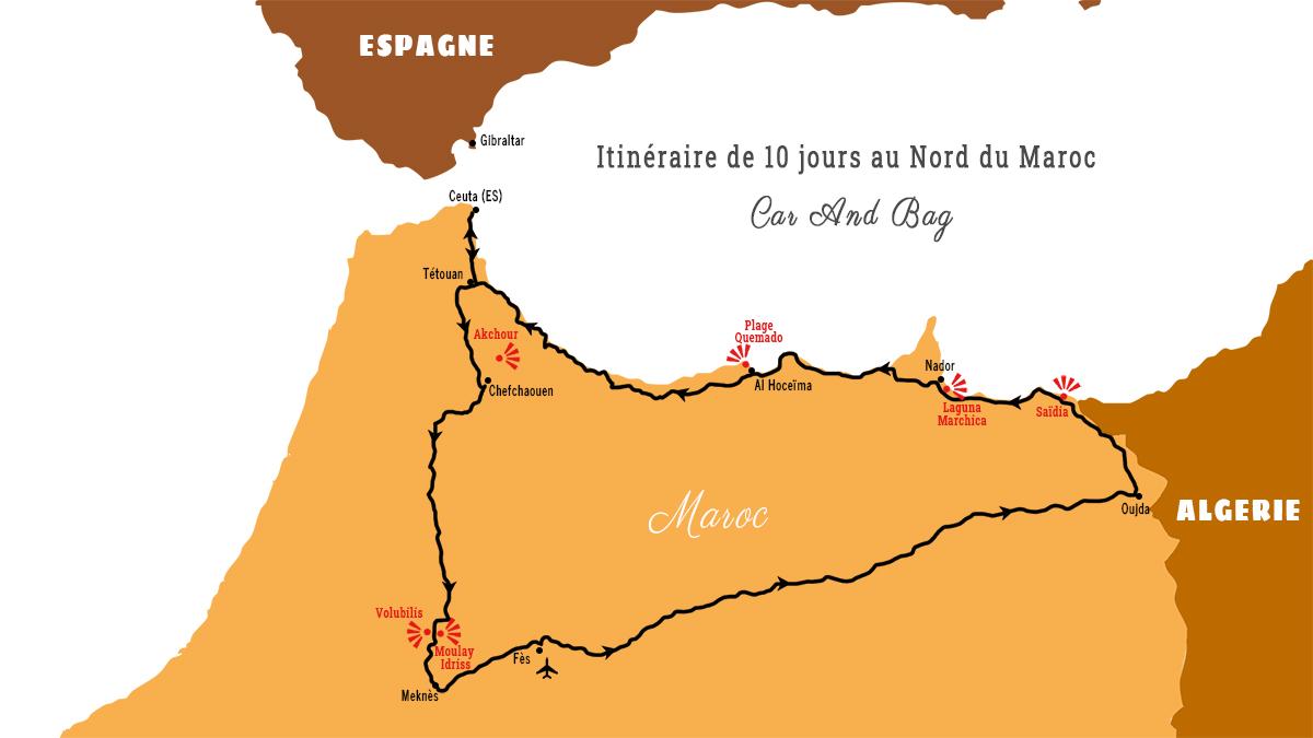 carte maroc itinéraire