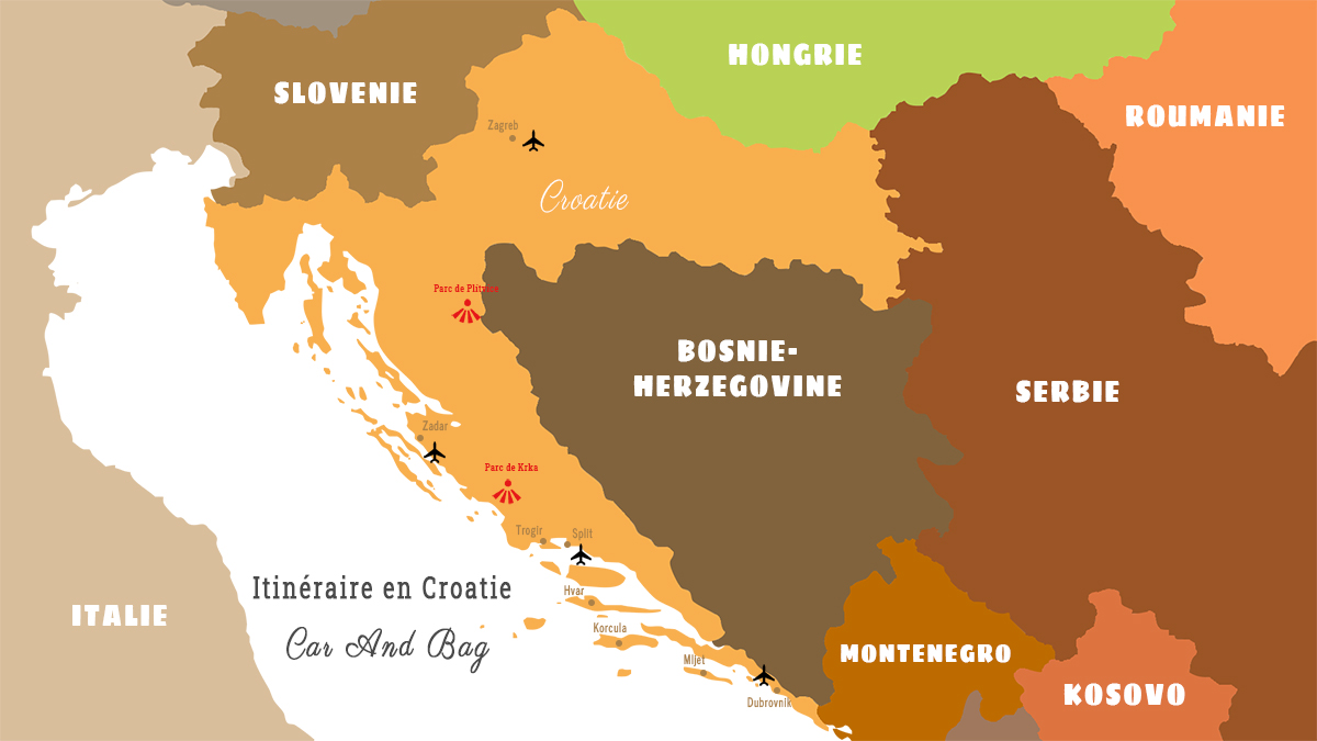 carte croatie itinéraire