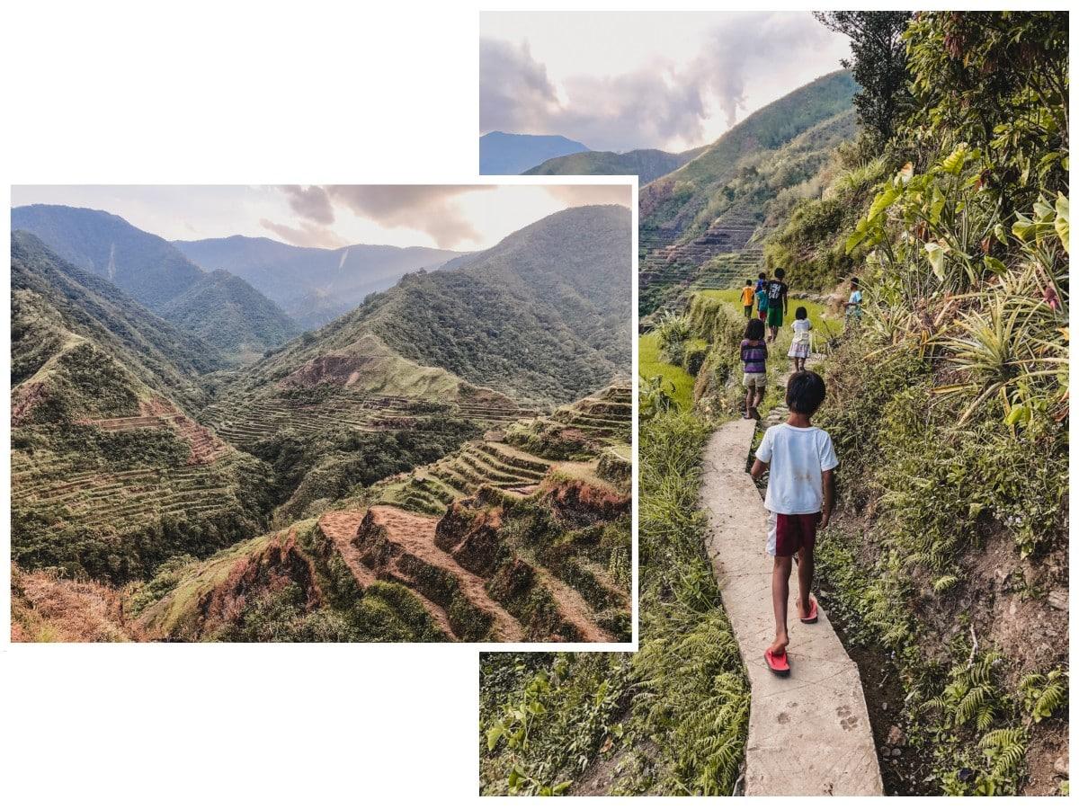 rizières enfants chemin philippines luçon