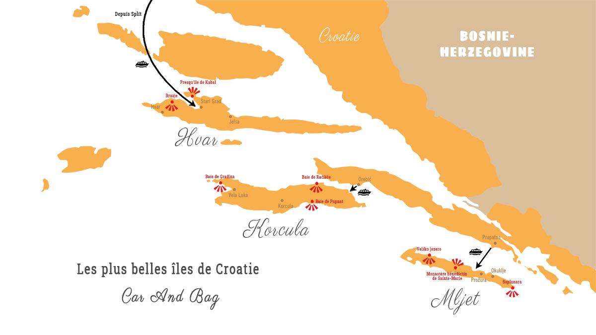 carte îles croatie
