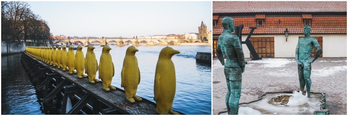 Pingouins piss sculpture prague