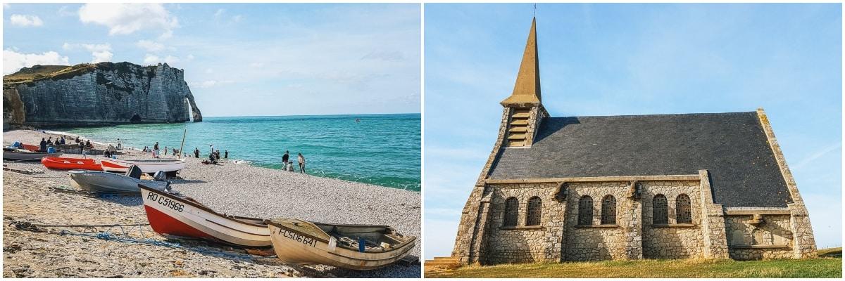 étretat plage église