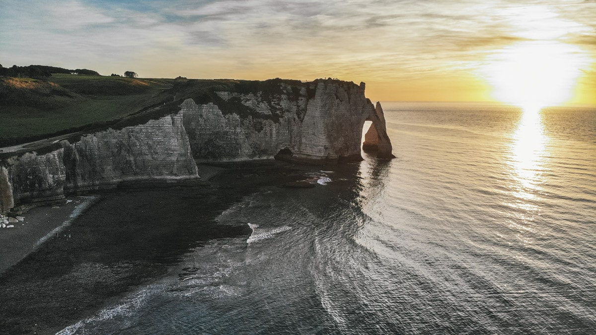 étretat falaises sunset mer